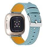 GhrKwiew Leder Uhrenarmband für Fitbit Sense, Echtes Leder Ersatzriemen Verstellbar Komfortable Ersatzband Zubehör Armband für Fitbit Versa 3/ Sense Armbänder (Hellblau)