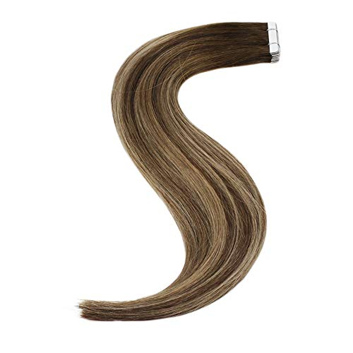 Sunny Extension Cheveux Adhesives Naturel 100% Cheveux Humain Balayage Marron Foncé Ombre Caramel Blond #4/27/4 Tape in Remy Hair Extensions 20pcs/50g 14 Pouces