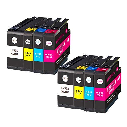 Cartuchos de tinta 932XL 933XL, cartuchos de tinta de alto rendimiento para HP Officejet 6100 6600 6700 7110 7610 7510 7512 7612 color negro (4 unidades) combinación x 2