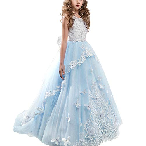 Long Tulle Junior Bridesmaid Dress with Pleating Style Lavender Infinity Dress Little Girls Prom Dresses Pageant Dress, Birthday Gifts Little Big Sisters Matching Dress Twins Blue 2-3 Years
