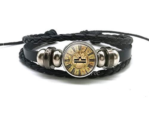 Sternbild Armband,12 Sternbild Retro Schwarz Leder Armband, Handgefertigte Ägyptische Wind Waage Sternzeichen Armbänder Für Den Vatertag Jahrestag Geburtstag Weihnachten Homme Schmuck