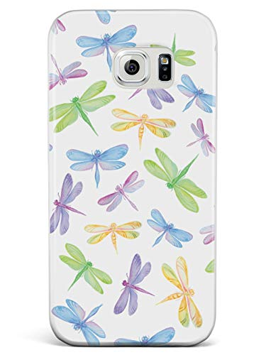 Inspired Cases - 3D Textured Galaxy S7 Case - Rubber Bumper Cover - Protective Phone Case for Samsung Galaxy S7 - Watercolor Dragonflies Pattern - White