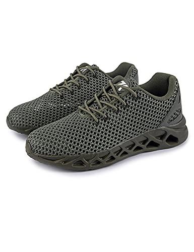 Jueshanzj Zapatos de los hombres de malla transpirable Zapatos casuales de los deportes Zapatos de viaje cómodos para correr, Verde militar, 42.5 EU