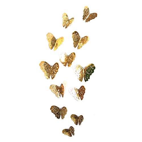BESPORTBLE 12 Pcs 3D Butterfly Wall Sticker Stylish Fashion Remotable Wall Decals Decorations for Kiechen Schlafzimmer