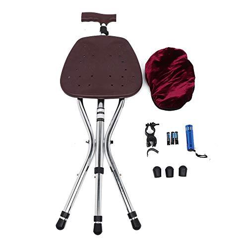 Qkiss verstelbare aluminium opvouwbare kruk Kruk Wandelstok met stoel Wandelstok Stoel, lichtgewicht armmanchet kruk, voor standaard en lange volwassenen, comfortabel om pols gevormd Antislip