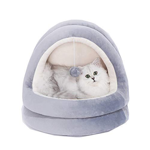 CHIYEEE Kat Tent Grot Kleine Hond Gezellige Bed Huisdieren Iglo-Bed Kitten Puppy Hideout House, Kussen Wasbaar, Grijs, Large 50 * 48 * 43cm, Grijs/wit