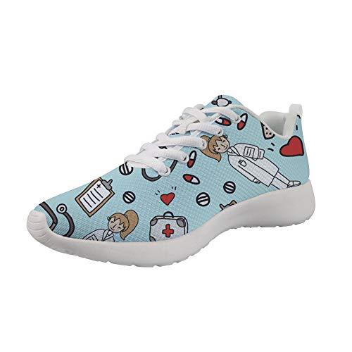 Woisttop Female Doctor Blue Zapatillas de Deporte para Correr para Mujeres, Damas, niñas, Zapatos Planos UK3-11.5