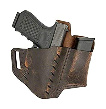 Versacarry 62102 Commander Holster with Spare Mag Pouch Distressed Water Buffalo Leather Flex Vent OWB Size 2-1911