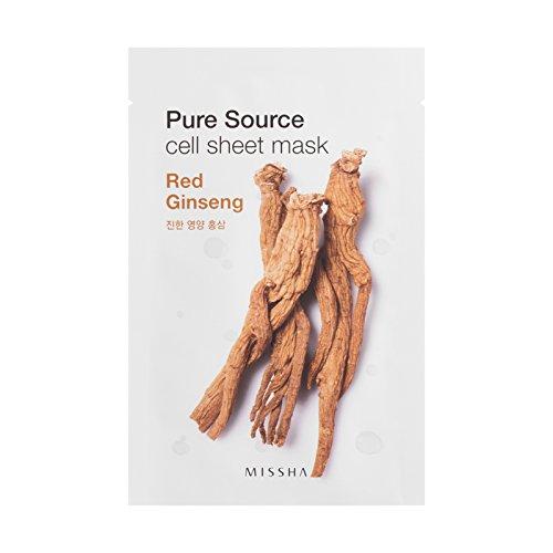 MISSHA Pure Source Cell Sheet Mask Red Roter Ginseng Gesichtsmaske gesichtsmaske Korean Kosmetik 10 pcs