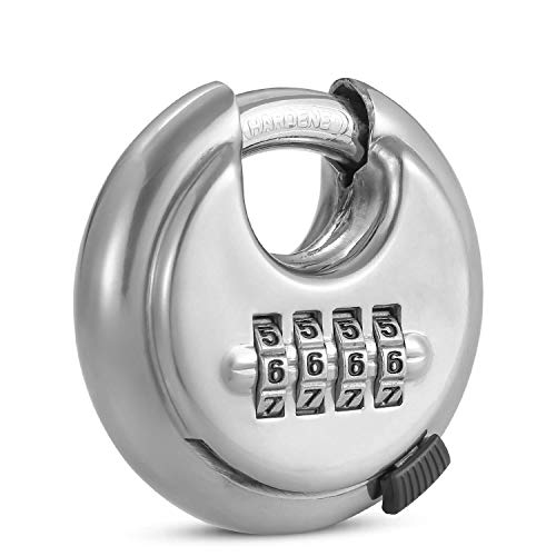 4 Digit Combination Disc Padlock with Hardened Steel Keyless Heavy Duty Combo Lock for Sheds,Fence,Storage Unit,Trailer,Moving Cube