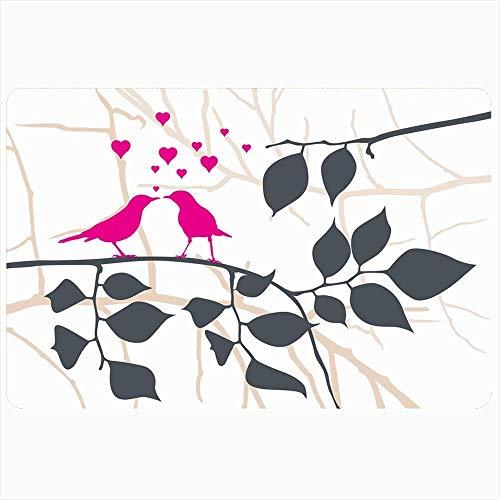 Taroot AA Badteppich Matten Liebe Leben Tier Clipart Vögel Schwarz Auf Romantik Herz Baum Blatt Zwei Paar Tiere Wildlife Natur Fußmatte Rückenmatte - 40X60Cm