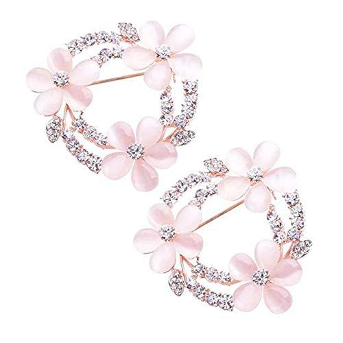 XLKJ 2 Pcs Broche Elegante de Cristal para Mujer Ropa Broches Accesorios, Broche de Cristal en Forma de Flor para Mujer, Broche de Joyería para Boda, Clip de Suéter