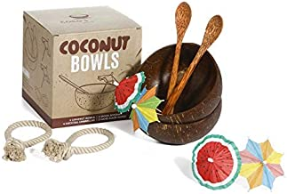Coco's Boon Upgraded LeakProof Coconut Bowl Set. Big Coconut Bowls with Spoons, Stabilizers, Umbrellas. Natural Coconut Bo...