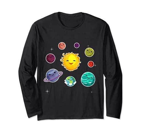 Los planetas del sistema solar de los niños regalo para los frikis del espacio Manga Larga