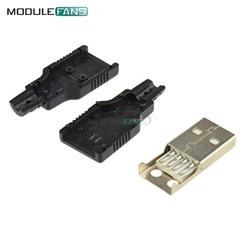 5Pcs USB 2.0 Type-ein Stecker 4-Pin männliche Adapter Contor Jack & Black Plastic Cover