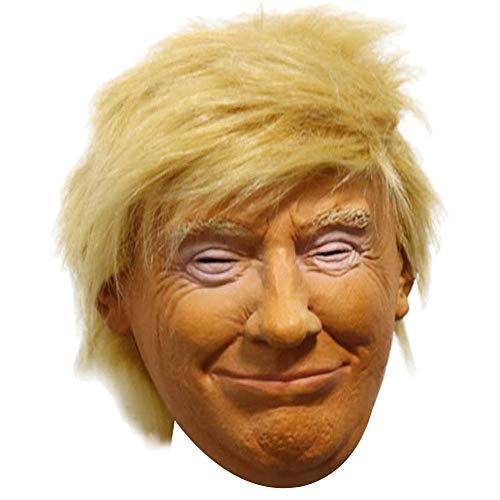 Jamron Realista Celebridad Mascara de Latex US Presidente Poltico Donald Trump Halloween Mscara Disfraz con Pelo SN07755 Trump-1