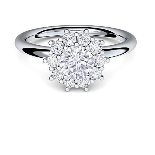 **Verlobungsringe von AMOONIC mit Zirkonia Stein* Silber 925 + LUXUSETUI* Cocktailring moderner Ring Designerring Einkaräter Antrag Silberringe Ring wie Diamant Weißgold AM48SS925ZIFAZIFA50