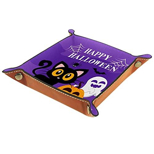 Halloween Cat-01 para hombres Key Wallet monedero viaje bandeja de cuero organizador