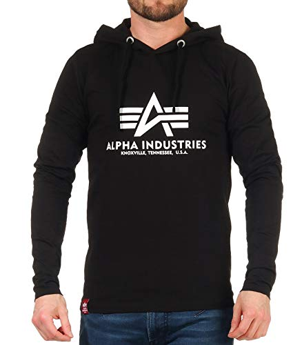 ALPHA INDUSTRIES Herren Basic Hooded Heavy LS T-Shirt, Black, 3 XL