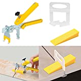 【Upgrade Version】Tile Leveling System 1/32'Kit, 600pcs Tile Spacers Clips, 200pcs Reusable Wedges and 1pc Floor Tiles Pliers for Bath Room, Living Room Floor&Wall, Best Tile Tools Easy Installation