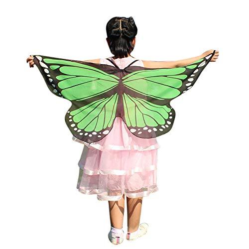 Kinder Schmetterlingsflügel Kostüm, Riou Baby Kostüme Mädchen Schmetterling Pixie Nymphe Flügel Schal Umhang für Hallowee Karneval Fasching Kostüme Party Cosplay (Minzgrün, Free)