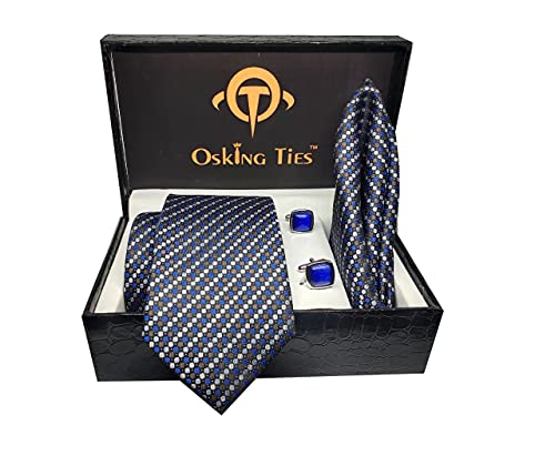 Osking Ties Mens Dotted Silk Necktie Gift Set With Pocket Square Cufflinks Formal Tie With Box