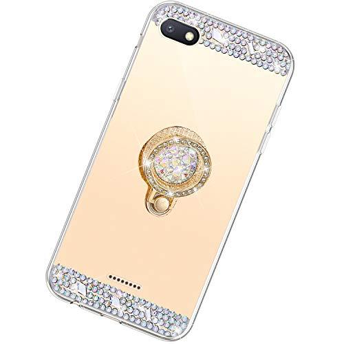 Funda Compatible con Xiaomi Redmi 6A.Espejo Glitter Diamante Anillo Soporte Brillo TPU Transparente Silicona Suave Carcasa Cover Mirror Bling Moda Ultrafino Protective Bumper Case,Oro