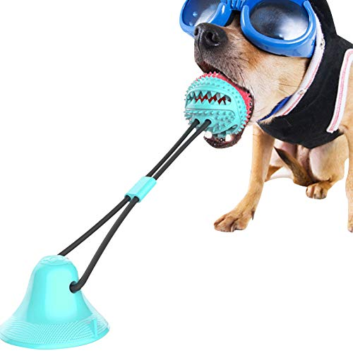 Dog Chew Toys, Puppy Dog Training Treats Teething Rope Toys with Suction Cup for Boredom, Dog Puzzle Treat, Food Dispensing Ball Toys, Suitable for Small Large Dogs
