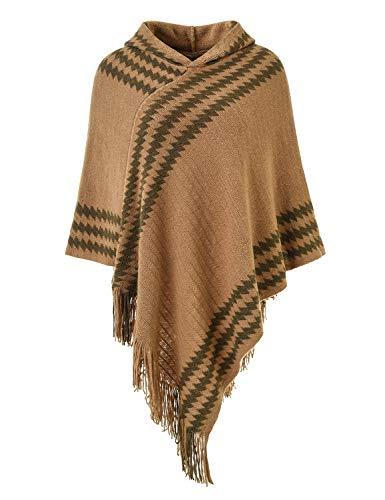 Ferand Chic Cape Damen Poncho mit Kapuze, Strick, mit Streifen aus Zickzack und Fransen Gr. One size, camel