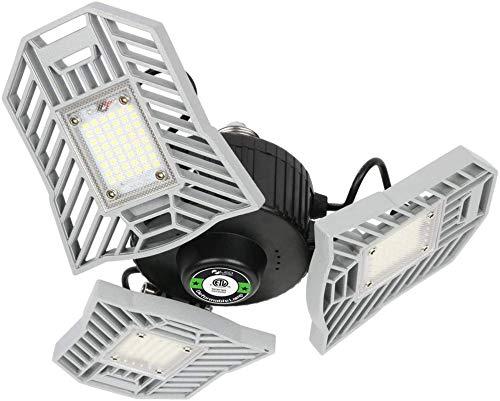 Falive Garage Lighting LED Garage Lights 6000Lm Super Bright Garage Light with Adjustable Multi-Position Panels Tribright Garage Ceiling Light Bulb for Garage, Attic, Basement (No Sensor)