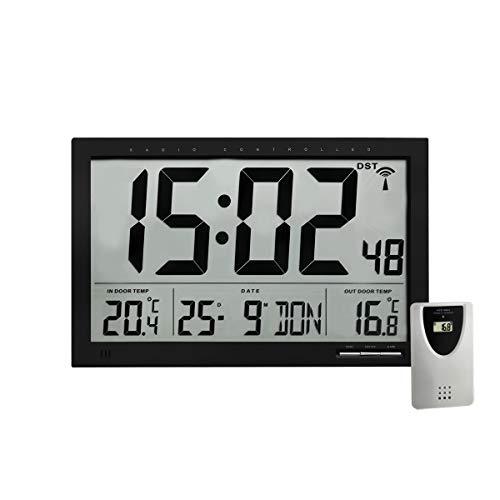 TFA Dostmann Digitale XL-Funkuhr, mit Außen-und Innentemperatur, Wanduhr, gut ablesbar, schwarz, 60.4510