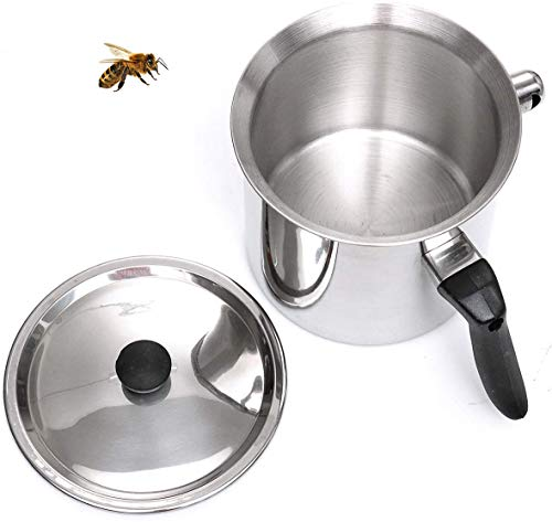 BEEXTM Wax Melting Pot,Durable Beeswax Melting Pot Portable Wax Cup with Handle,Stainless Steel 1.5L Large Capacity Silver Candle Making Pouring Pot