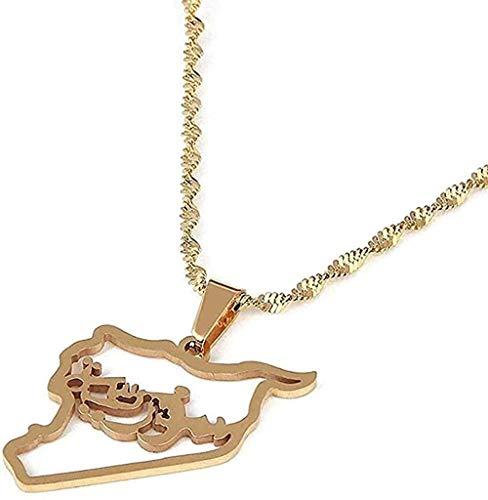 LBBYMX Co.,ltd Collar de Acero Inoxidable de Moda, Color Dorado, Collares con Colgante de Mapa de Siria, joyería de Cadena con Contorno de Mapa de Siria