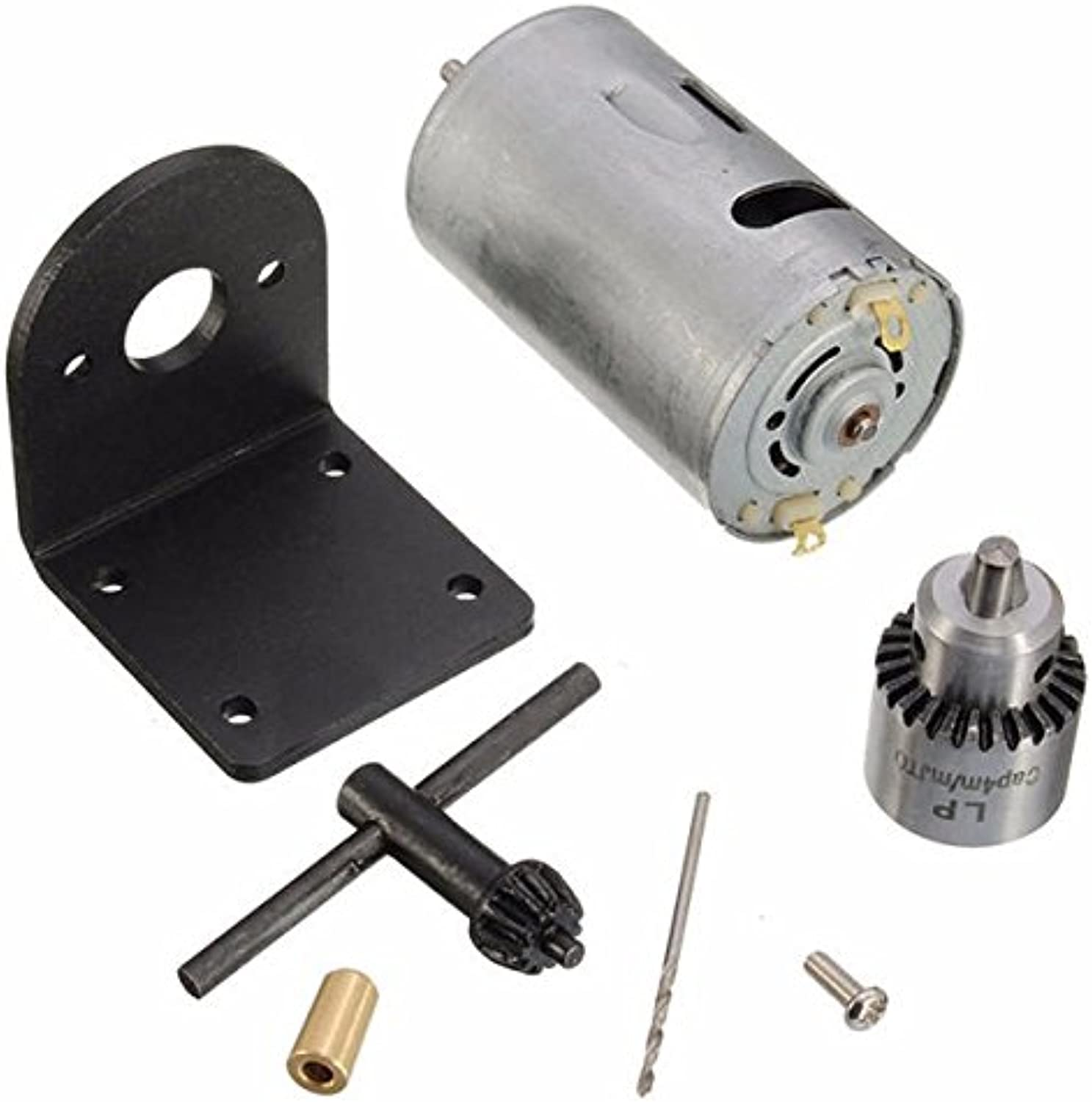 1224V Lathe Press Motor with Drill Chuck and Mounting Bracket Motor  Mechanical Parts Motor  1 x Motor, 1 x JT0 Drill Chuck, 1 x Mount for The Motor, 1 x Drill bits