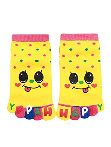 sourcingmap® Kinder Punkt Muster Stretch Knöchel Länge Zehe Socken Gr. 7-8,5 Gelb