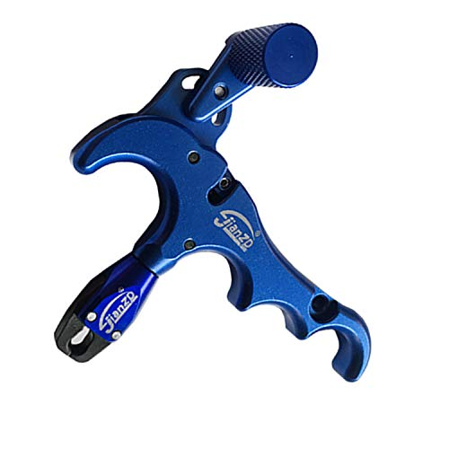JIANZD Archery Release Aids, 4-Finger Hand Held Bow Release Aluminum for Compound Bow Accessory (Blue)