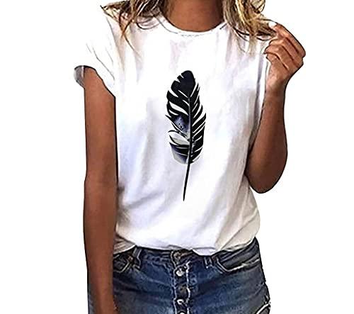 Frobukio Damen Kurzarm Bluse Basic Tshirts Weiss, Sommer Oberteile Feder Drucken Tops Rundhals Mode Teenager Mädchen Frauen Hemd Bluse Tunic Tops Tuniken (Feder, XXL, xx_l)