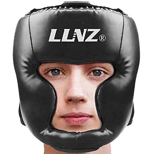 Luniquz Boxhelm Für Boxkopfschutz - Leder Kopfschutz Gesichtsschutz mit Perfekter Sicht Bewachen Wangen für Kampfsport,Boxen,Kickboxen,Sparring,Taekwondo, Schwarz/S