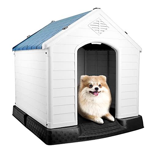 Caseta Perro de Plástico Mediano para Exterior Interior, Caseta para Perros Pequeños de Resina, Fácil de Montar y Limpiar, 72 x 66 x 71 cm