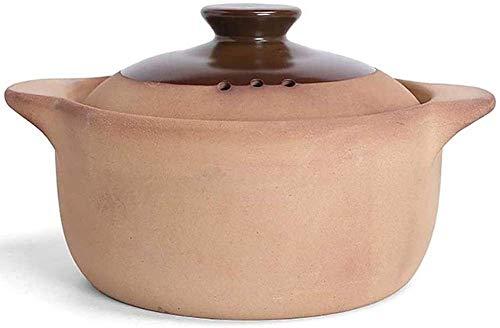 zyl Ollas de Arcilla para cocinar Cacerola de Arcilla - Olla de Terracota para cocción Lenta Lata de Arcilla Natural Hecha a Mano -1.8L