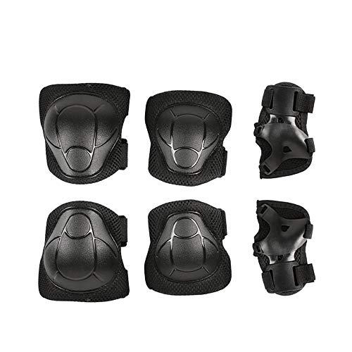 Gasea Équipement de Protection des Sports Set Pad de Sécurité Sauvegarde (Genou Coude Poignet) Support Pad pour Les Enfants de la Bicyclette Rouleau de Vélo BMX Vélo Skateboard(6 Pcs Noir)
