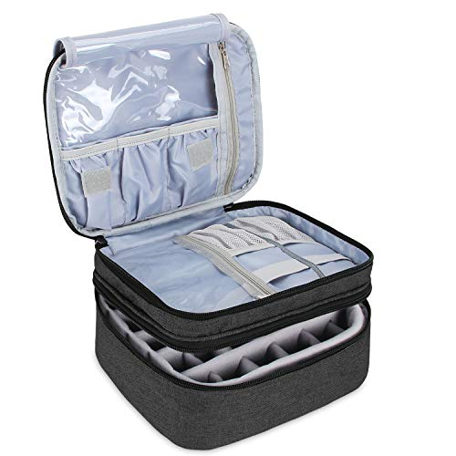 Luxja Nagellack Aufbewahrung Box, Nagellack Tasche, Aufbewahrung für Nagellack-Hält 30 Flaschen (15ml - 0,5 FL.oz), Doppelschicht Aufbewahrungstasche für Nagellacke und Maniküre, Schwarz
