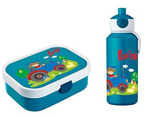 Mein Zwergenland Brotdose Mepal Campus inkl. Bento Box und Gabel + Campus Pop-up Trinkflasche mit Namen Blau, Traktor