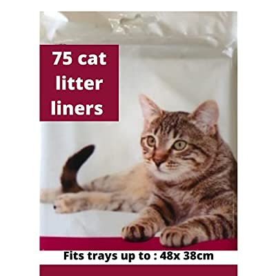 Pack of 75 Cat Litter Tray Liners Scratch Resistant Bags For Cat Litter BoxCat litter box liners fits trays up to 38x48cm - no drawstrings - Litter Tray Liner - Cat Litter Bags -Medium to large (75)