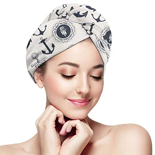 JS-BA Mega Set Of Nautical Elements Vintage Hair Towel Wrap Turban Microfiber Ducha de baño de secado Head Towel with Buttons,Quick Magic Dryer, Sombrero de pelo seco, Gorro de baño envuelto