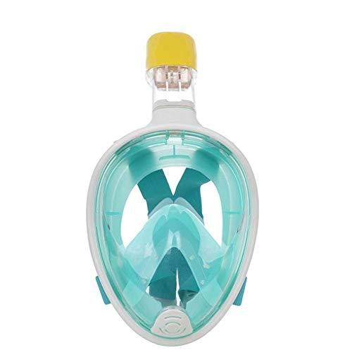 KDAQO Männliche und weibliche Erwachsene Full Dry Tauchmaske Schwimmen Maske Silikon Schnorchel-Set Anti-Fog-Kamera Taucherbrillen (Color : Green)