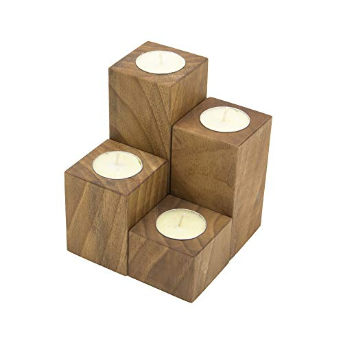 Ray Silver Wood Votive Candle Holders - Handmade Tealight Candle Holder for Rustic Decor, Wedding,Birthday Decoration Without Chemical - Set of 4
