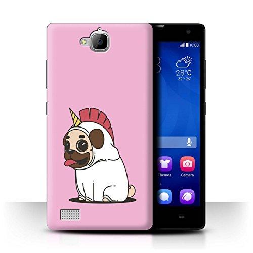 Hülle/Case für Huawei Honor 3C / Karikatur Mops/Pug Muster/Einhorn/Unicorn Kollektion