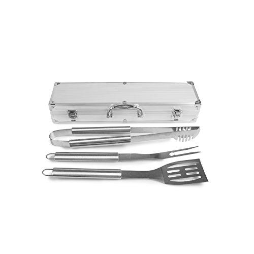 Rustler Grillbesteck, Set im Aluminium Koffer, 3 teilig, silber, 45 x 24 x 45 cm