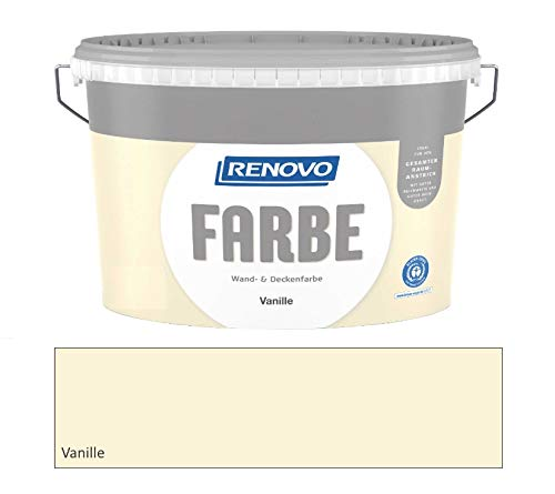 Renovo 5 Liter Wandfarbe Vanille, Hellgelb Matt, für ca. 33-40 m²